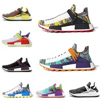 Wholesale woman running shoes low price resale online - Different prices Human Race Afro Hu Trial Red Green Pharrell Williams men running shoes Black Solar Pack women trainers sports sneaker