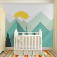 Wholesale wallpapers for free for sale - Group buy Pure green mountain art wallpaper mural on the wall for kid s room wallpaper nursery room wall decor