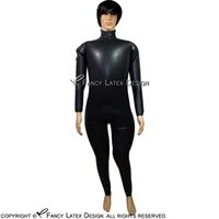 Wholesale sexy green catsuit online - Black Sexy Inflatable Latex Catsuit With Shoulder Zipper And Crotch zipper Rubber Bodysuit Overall Zentai Body Suit LTY