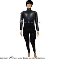 kauçuk kasığı toptan satış-fermuar Omuz Fermuar Ve kasıklarınla Siyah Seksi Şişme Lateks Catsuit Lastik Bodysuits Genel Zentai Vücut Suit lty-0112