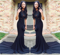 ingrosso abiti da sera fatti a mano-African Black Girls Prom Dresses 2019 Pizzo Appliques Sheer Neckline Sexy Abito da sera Sweep Train Handmade Appliques Laurea Dress