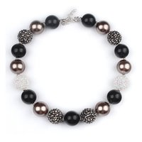 Wholesale chunky necklaces for kids - Toddler summer jewelry black color chunky beads bubblegum necklace for kids one size K0214