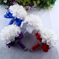 Wholesale hand bouquet white resale online - Pe Foam Romantic Artificial Flower Wedding Ceremony Bouquet Bride Simulation Hands Holding Flowers With Diamonds Party Supplies kd jj