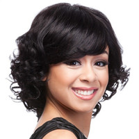 Wholesale Red Short Curly Hair - Newest Fashion Short BOB Brown Wavy Curly Hair Afro Wig Siulation Brazilian Human Hair Wigs Full Wigs In stock Y demand