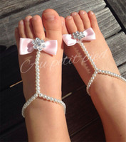 Wholesale pearl toe ring resale online - Baby Foot Flower Barefoot Sandals bowknot Simulated Pearl Anklets Barefoot Sandals Baby Girls Foot Band Toe Rings Foot ornament KFA22