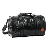 torba bölmeleri toptan satış-Büyük Kapasiteli Deri erkek seyahat çantaları Bağbozumu çanta omuz çantası Büyük erkekler Bagaj çantası Deodorantı ayrı ayakkabı Bölmesi