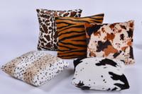 tiger druck kissen fällen großhandel-Plüsch Tier Zebra Leopard Tiger Textur Gedruckt Dekokissen Fall Sofa Home Decor Kissenbezug Dekokissen Cove