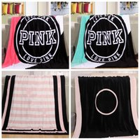 Wholesale coral plush - 130*150cm PINK flannel Blanket Letter Carpet Coral Velve Beach Towel Blankets Plush Throw Blankets Lazy Blankets fashion new style FFA192