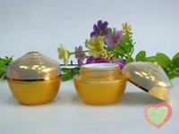 ingrosso vaso di vetro giallo-Barattolo crema vuoto giallo di vetro 30pcs all'ingrosso 30G, contenitori del barattolo di vetro dell'oro di 30 g, vasi di vetro di 30 g per i cosmetici all'ingrosso