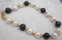 schönes schwarzes perlenarmband großhandel-schönes 8-9MM Südseeweiß schwarzes Perlenarmband 7.5-8