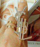 persönlichkeitsbroschen großhandel-Neue Mode Y Brief Halskette Ring Persönlichkeit wilde Dame Temperament Brosche Ohrringe Schmuck samt Seil