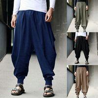 мешковатые штаны из хлопка для мужчин оптовых-Hot Fashion Cotton Harem Pants Men Chinese Style Loose Joggers Trousers Man's Cross-pants Crotch Pants Wide Leg Baggy Men
