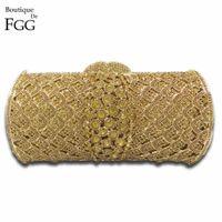 светские кристаллы оптовых-Dazzling Socialite  Women Crystal Clutch Evening Bags Bridal Golden Diamond Wedding Clutches Bag Metal Hardcase Handbag