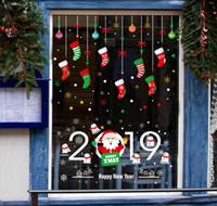 yılbaşı santa pencere çıkartması toptan satış-Merry Christmas Pencere DIY Sticker Noel Baba Kar PVC Çıkarılabilir Duvar Sticker Xmas Ev Çıkartmaları Noel Dekorasyon için