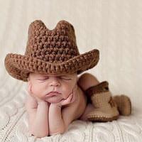 Wholesale crochet newborn cowboy hat resale online - Newborn Photography Costume Baby Boy Girls Crochet Brown West Cowboy Hats CAP Newborn Photography Props Infant Outfits