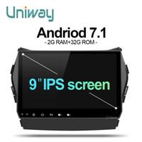 ips tela chinesa telefones móveis venda por atacado-Uniway AIX459071 IPS android 7.1 carro dvd para Hyundai IX45 Santa fe 2013 2014 carro rádio estéreo navegação carro dvd player gps