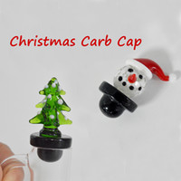 baston aksesuarları toptan satış-Cam Carb Cap Dabber Renkli Kardan Adam Şapka Noel Ağacı Şeker Kamışı Termal Banger Çivi Yağ Kuleleri Için Kabarcık Carb Kap Sigara Aksesuarları