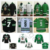 ingrosso maglia hockey universitaria-Cheap Vintage Dakota del Nord Fighting Sioux College Hockey Maglie 9 Jonathan Toews 11 Zach Parise 7 TJ Oshie University cucita Jersey