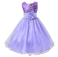 Wholesale tea clothes for sale - Hot Sale Baby Girl Flower sequins Dress Party Princess Dress Children kids clothes colors yrs Flower Girl Dress