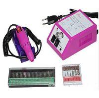 usar manicura al por mayor-Máquina rosada profesional de la manicura del taladro de clavo eléctrico con los pedacitos 110v-240V (enchufe de la UE) fácil de utilizar