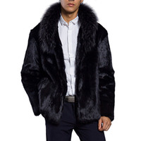 Wholesale plus size rabbit fur jackets - Luxury Rabbit Fur Mens Fluffy Jackets 2017 Autumn Winter Warm Fleece Male Faux Fur Long Coats Plus Size 3XL Chaquetones Hombre