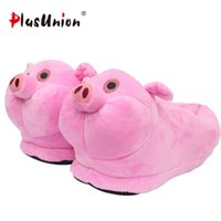 Wholesale cute anime slippers for sale - cute piggy slipper indoor cartoon animal home type cosplay cotton soft warm anime shoes woman furry fluffy adult unisex plush