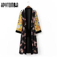 ingrosso blusas vintage-Vintage etnica floreale a pois stampa telai Kimono donna 2018 nuova moda a cardigan velluto patchwork camicetta casual Femme Blusas