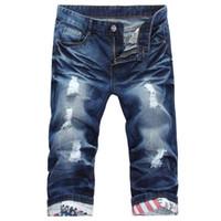 Wholesale mens capri trousers - Summer New Blue Mens Ripped Jean Shorts with Holes Capri Regular-fit Denim Fashion Casual Short Trousers Size 27-38