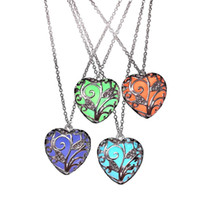 Wholesale heart necklaces for sale - Hot Sale Heart Shaped Pendant Necklace Luminous Pendants in Dark Hollow out Type Heart Glow Pendants Necklace For Women