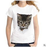 vilains t shirts achat en gros de-2019 Été Naughty Cat 3D Belle T-shirt Femmes Impression Originalité O-Cou À Manches Courtes T-shirt Tops Tee