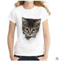 yaramaz kediler toptan satış-2019 Yaz Yaramaz Kedi 3D Güzel T Shirt Kadın Baskı Özgünlük O-Boyun Kısa Kollu T-shirt Üstleri Tee