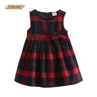 Wholesale Kid Girl Woolen Dresses - 2017 Autumn Girls Dresses 2-9T School Plaid Girl Costumes Sleeveless Woolen Cute Bow Princess Dress Girls Clothing Kids Clothes