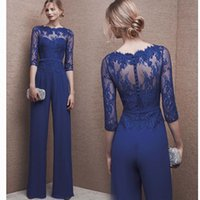 Wholesale Cocktail Dress Covered Jewels - High quality Royal blue Evening Dresses with trousers 2018 Floor Length Half Sleeve Formal Evening Gowns