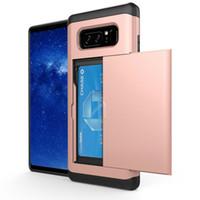 замечательный оптовых-Slider Card Slot Case для Samsung Galaxy Note 8 A3 A5 A7 2016 Grand Prime G530 Прочная гибридная броня Обложка Shockproof Phone Back Shell