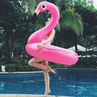 Wholesale inflatable ring floats online - Inflatable Flamingo Pool Float Toys Kids Swimming Ring Circle Party Decoration Beach Water Party toy FFA159