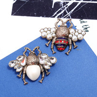 Wholesale Vintage Animal Pins - Vintage Women Crystal Rhinestone Pearls Honeybee Brooche Pin Fashion Jewelry Bee Brooches Creative Gifts