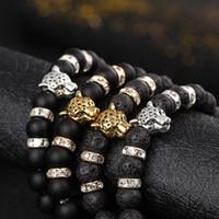 pulseira vulcânica preta venda por atacado-Europa e nos Estados Unidos naturais preto fosco vulcânico lava pulseiras de rock beads cabeça de leopardo cristal cravejado pulseira elástica homens
