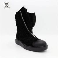 Wholesale Thick Sole High Heel Boots - High Top Classic Vintage Black suede Leather Thick Sole Platform Zip Boots Genuine Leather Retro Men Winter Boots