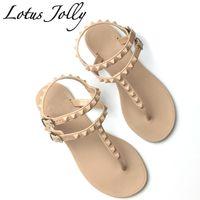 Wholesale High Heel Sandal Wholesale - Lotus Jolly 2017 Flat Heel Rivet Sandals Ladies Summer Beach Shoes Women High Heels Gladiator Sandles Zapatos Mujer Sandalias