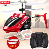 Wholesale Helicopter Indoor - Original SYMA W25 2CH RC Helicopter Shatterproof Remote Control Copter with Built in Gyro Radio Mini Drones Indoor Kid Funny