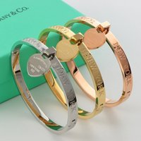 Wholesale Gold Pendant Designs For Women - New arrival Classic Design 316L Titanium steel punk lovers bangle with one heart pendant for Women bangle in 5.7cm jewelry gift free shippi