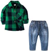 Baby Boy Abbigliamento Shirt + pants 2pcs gentleman outfit bambini causale  Jeans set per bambini in cotone baby set tops pantaloni di cotone 0-7 CQZ149 34a818aeaad
