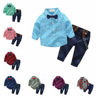 Wholesale baby boy leopard clothes for sale - Baby boys gentleman strap outfits Infant Tie romper T shirt pant set kids Clothing Sets toddler clothes