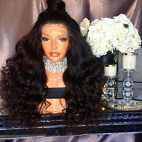 Wholesale dark auburn wavy wig - Top Quality Fiber Kinky Loose Curly Wavy Wigs Synthetic Lace Front Wigs 150% Density Black Color Heat Resistant Synthetic Hair Wigs