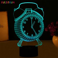 Wholesale Table Lamps Led Lighting - Night Lights LED Table Lamp Novelty Fashion 3D 7 Colors Little Clock with Multi-colors as Bedroom Decoration Support Customization