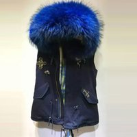 Wholesale Raccoon Fur Vest Women - New Arrival fur-trimmed more color assortment blue yellow natural thick fur lining big raccoon collar sleeveless vest jacket