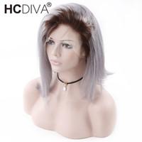 ingrosso parrucche di pizzo grigio argento-Ombre T1B / Grey Bob Wigs 13X4 Parrucche per capelli umani in pizzo anteriore per donne nere Parrucche diritte peruviane 100% capelli corti Bob grigio argento
