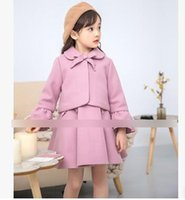 Wholesale Pink Coat Flared - Children outfits Girls woolen flare sleeves beading bows lace-up lapel short coats+pleated vest dress 2pcs sets Kids princess clothes C2494