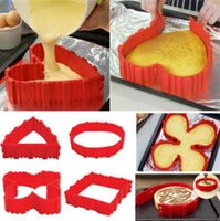 Wholesale Cake Squares - 4pcs set Cake Bake Snake Cooking Moulds Cake Mold DIY Silicone Cake Baking Square Round Shape Mold Magic Bakeware Tools CCA8480 30lot