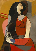 Wholesale oil abstract woman traditional painting resale online - Famous Pablo Picasso Seated Woman High Quality Handpainted HD Print Art oil painting Home Decor Wall Art On Canvas Multi Sizes g166